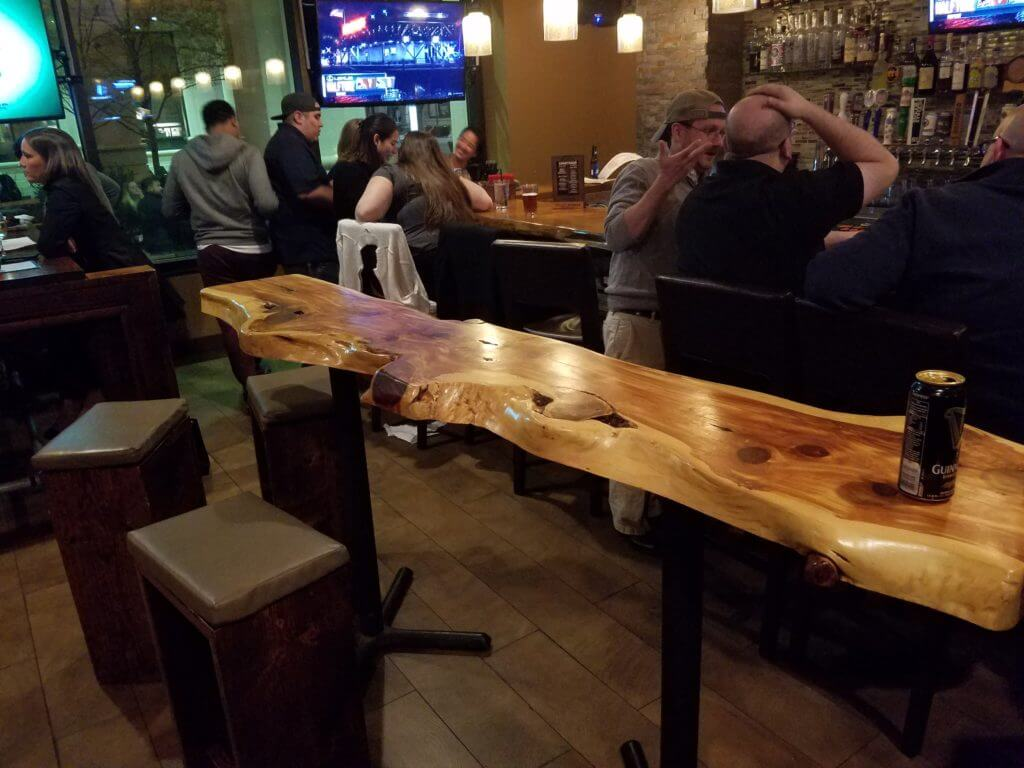 Live edge slab bar tops and tables cutom made