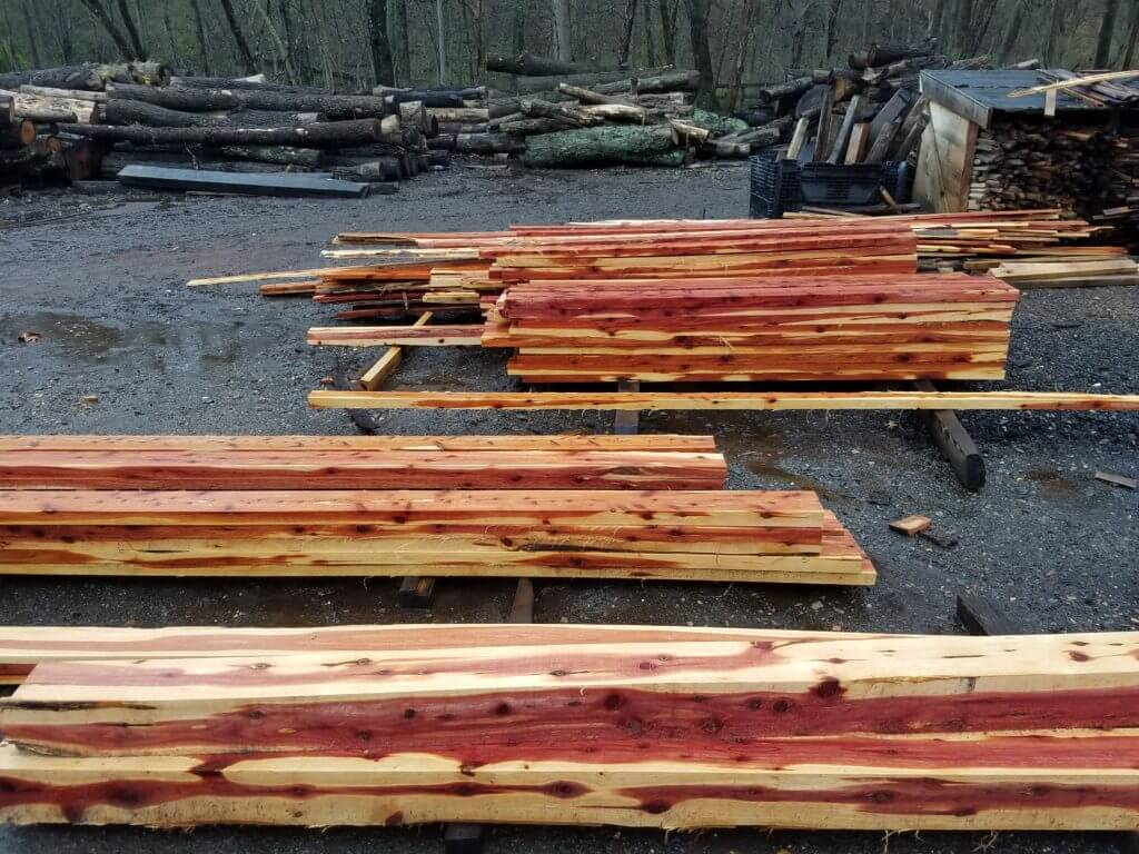 Fresh cut cedar lumber for a fence