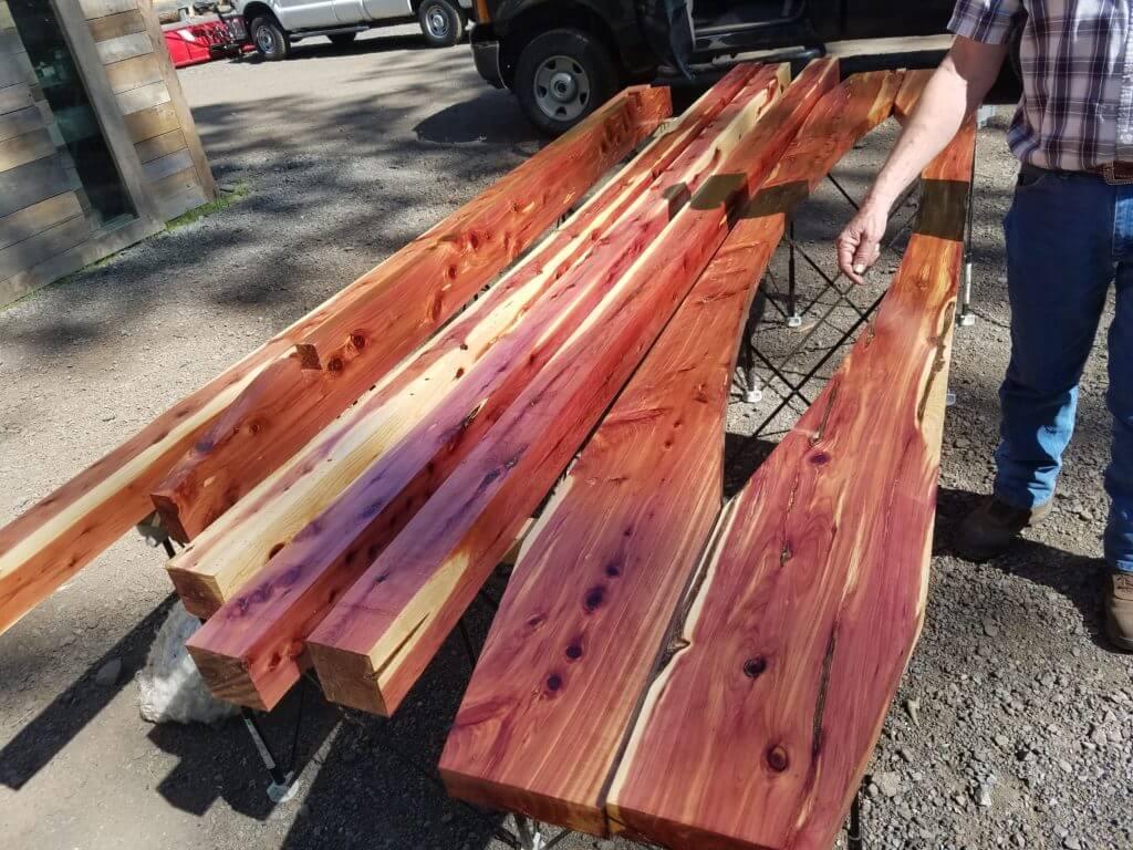 Cedar wood for a pergola