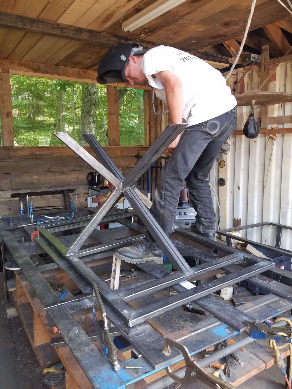 welding on table jumping jack base
