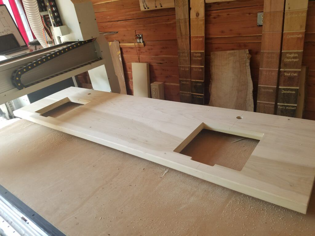 We cut out the sinks using our cnc machine