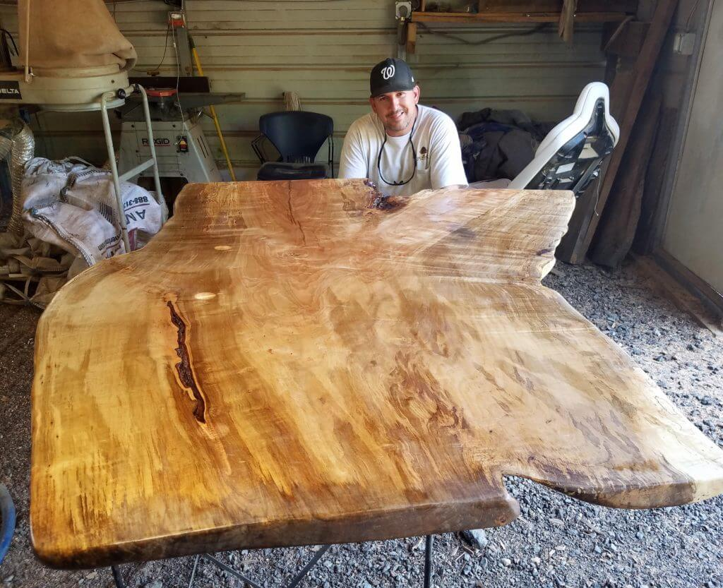 Live edge slab of maple reclaimed